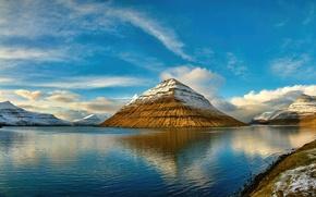 Картинка вода, скалы, снег, горы, небо, залив