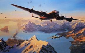 Картинка корабль, горы, арт, бомбордировщики, 1944, дым, рисунок, SINKING OF THE TIRPITZ, Lancaster, линкор, World War …