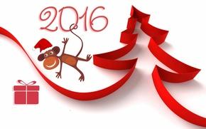 Обои красный, коробка, подарок, рисунок, новый год, цифры, лента, белый фон, ёлка, обезьянка, 2016, обои от ...