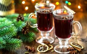 Картинка зима, ветки, огни, вино, лимон, ель, палочки, Новый Год, Рождество, напиток, корица, шишки, праздники, боке, …