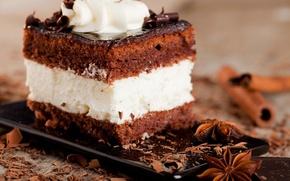 Обои анис, торт, сладости, десерт, глазурь, крем, пирожное, шоколадное, корица