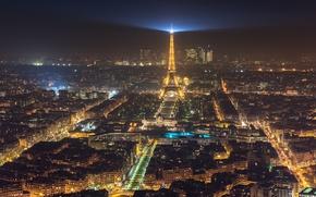 Обои огни, свет, ночь, Франция, Париж, Эйфелева башня, город