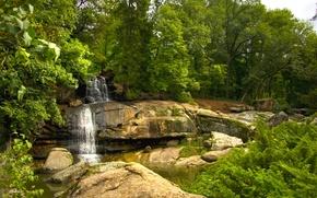 Картинка вода, деревья, парк, камни, водопад, поток