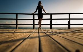 Картинка девушка, мост, перила