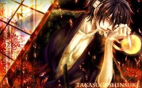 Картинка цветы, самурай, искры, мужчина, бинт, Gintama, Takasugi Shinsuke, желтая луна