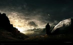 Картинка звезды, горы, луна, камень, долина, странник