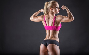 Картинка muscles, blonde, pose, back, female, workout, fitness, arms, toned body, body building