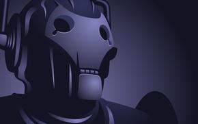 Обои синий, робот, киборг
