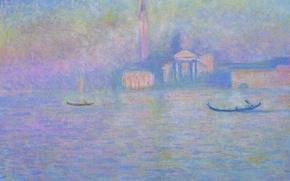 Обои пейзаж, лодка, картина, Венеция, гондола, Клод Моне, Сан-Джорджо Маджоре