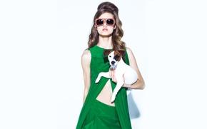 Картинка ретро, очки, фотосессия, Lindsey Wixson, с собакой