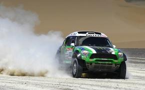 Картинка Авто, Пыль, Спорт, Зеленый, Mini Cooper, Rally, Dakar, Ралли, MINI, Передок, Мини Купер, X-raid