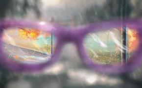 Картинка осень, пасмурно, очки, погода, солнечно