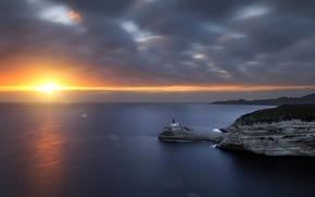 Картинка море, закат, маяк, Corsica