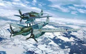 Картинка war, art, painting, aviation, ww2, FW190A-8/JU88G-1 Mistel