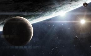 Картинка космос, планеты, space, спутники, stars, planets