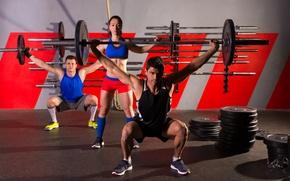 Картинка девушка, спорт, sport, парни, тренировка, training, guys, bars, штанги, a girl