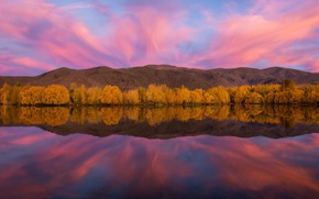 Картинка осень, небо, отражения, озеро, река, краски