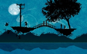 Обои мост, люди, дерево, Вектор
