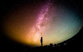 Обои небо, звезды, свет, ночь, галактика, плеяда
