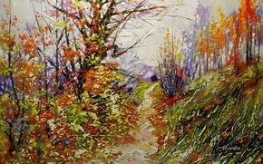 Картинка осень, лес, деревья, пейзаж, листва, картина, живопись, тропинка, Ходюков, мастихин