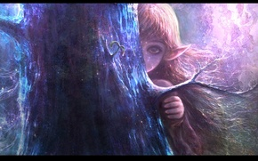Картинка дерево, эльф, рука, ветка, девочка, ствол, прятки, ушки