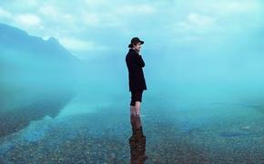 Картинка lost, misty, lake, fog, man