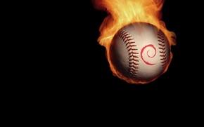 Картинка огонь, минимализм, Мяч