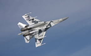 Обои Полёт, Су-35, В воздухе, Su-35, Российский истребитель 4++