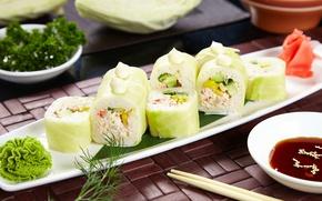 Обои вегетарианские, соус, роллы, начинка, васаби, капуста, суши