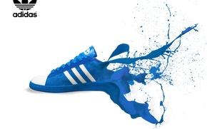 Обои брызги, синий, краска, цвет, белый фон, адидас, adidas, кроссовки