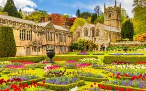 Обои цветы, церковь, сад, Англия, особняк, Корнуолл, Cornwall, St Hydroc Church, Lanhydrock House, Лангайдрок, Lanhydrock, England