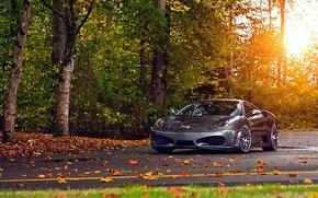 Картинка дорога, осень, ferrari f430
