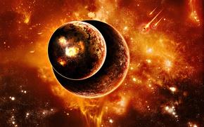 Картинка planets, sci fi, fire and heat