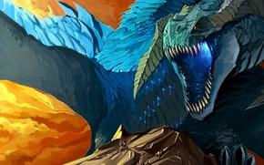 Картинка скала, дракон, Синий, воин, пасть
