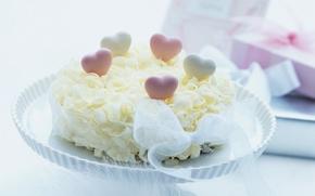 Обои лакомство, торт, лента, десерт, сердечки, сладкое, тортик, еда, пирожное