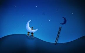 Обои луна, воры, рисунок, Лестница