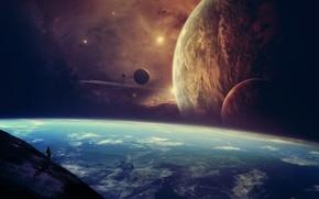 Картинка космос, звезды, планеты, человек, вид, корабли