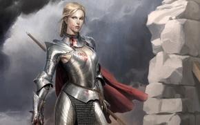 Картинка девушка, металл, кровь, доспехи, воин, арт, плащ, латы