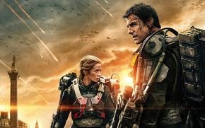 Обои постер, Tom Cruise, Том Круз, Rita Vrataski, Bill Cage, битва, фантастика, экзоскелет, Edge of Tomorrow, ...