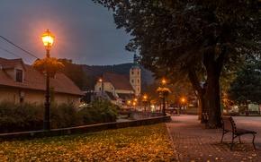 Картинка осень, листья, деревья, огни, ручей, дома, вечер, фонари, скамейки, Хорватия, Zagreb, Samobor