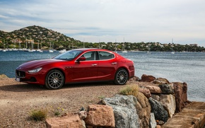 Картинка Maserati, Красный, Автомобиль, Ghibli, 2016, S, Q4