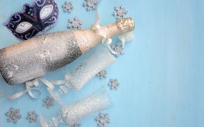 Обои шампанское, маска, новый год