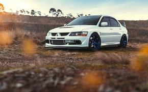Картинка Mitsubishi, Lancer, Car, Front, Sun, Sunset, White, Evolution 9, Works