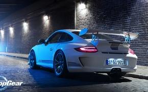 Картинка дорога, белый, свет, тюнинг, 911, Porsche, Top Gear