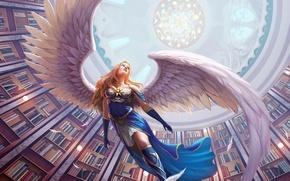 Картинка девушка, книги, крылья, ангел, перья, арт, библиотека, свод