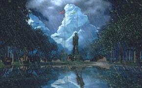 Картинка дождь, памятник, лагерь, everlasting summer, бесконечное лето, iichan-eroge