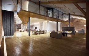 Картинка стол, комната, камин, зал, Интерьер, гостиная, living room, table, fireplace, hall, Room, Interior, стильный дизайн, ...