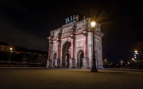 Картинка ночь, огни, Франция, Париж, триумфвльная арка