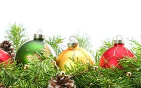 Обои праздник, зима, игрушки, шарики, сосна
