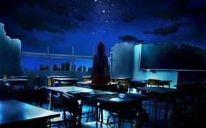 Обои небо, девушка, звезды, ночь, арт, разрушение, класс, руины, школа, спиной, парты, ayura